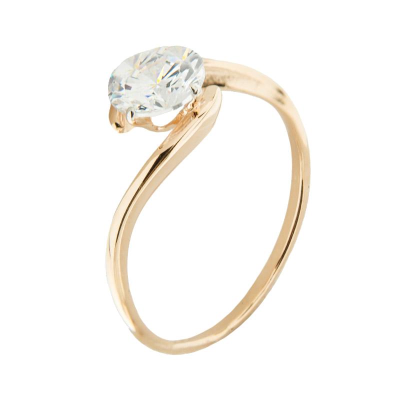 Золотое кольцо с сваровски 5Э10-02-00005
