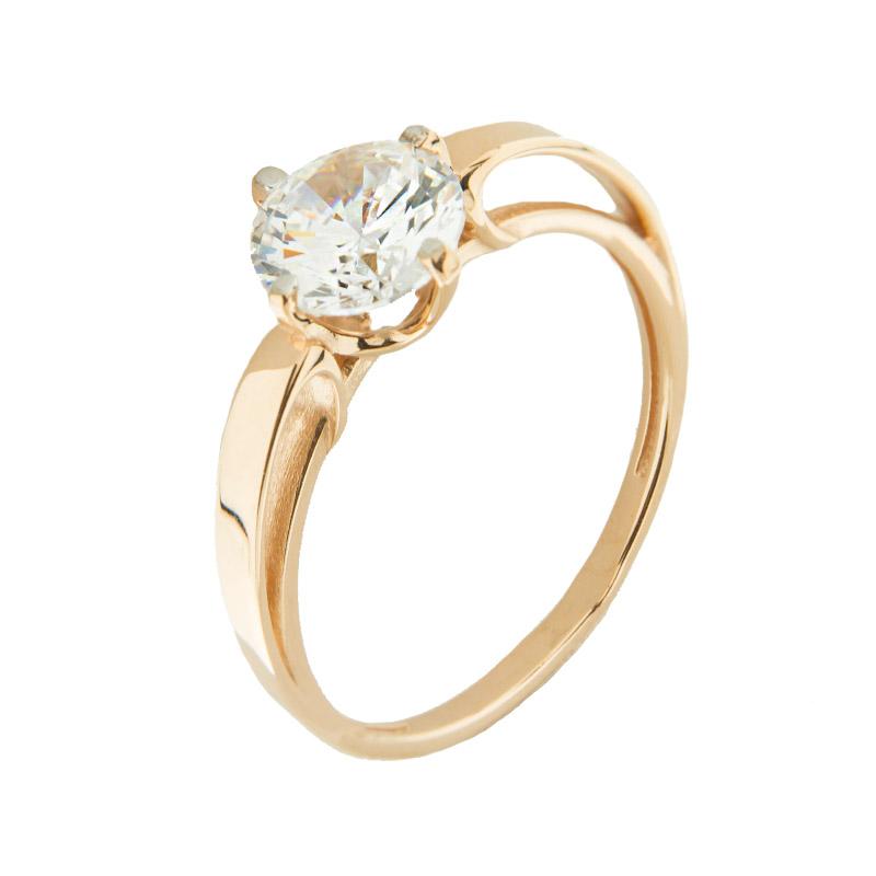 Золотое кольцо с сваровски 5Э10-02-00003