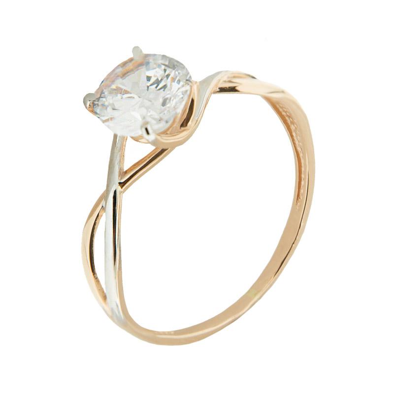 Золотое кольцо с сваровски 5Э10-02-00002