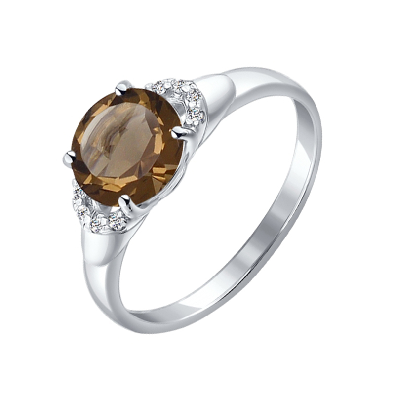 Серебряное кольцо с топазами и фианитами ДИ92011006