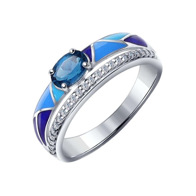 Серебряное кольцо с топазами и фианитами ДИ92011182
