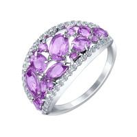 Серебряное кольцо с аметистами и фианитами ДИ92011185