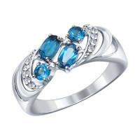 Серебряное кольцо с топазами и фианитами ДИ92011218