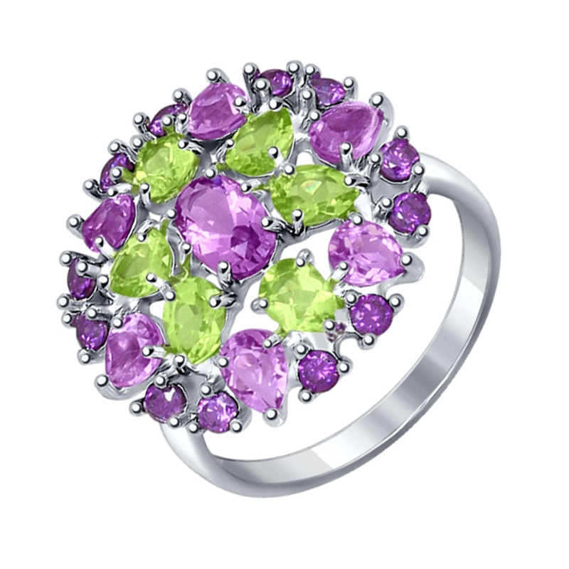 Серебряное кольцо с аметистами, хризолитами и фианитами ДИ92011230