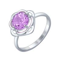Серебряное кольцо с аметистами ДИ92011248
