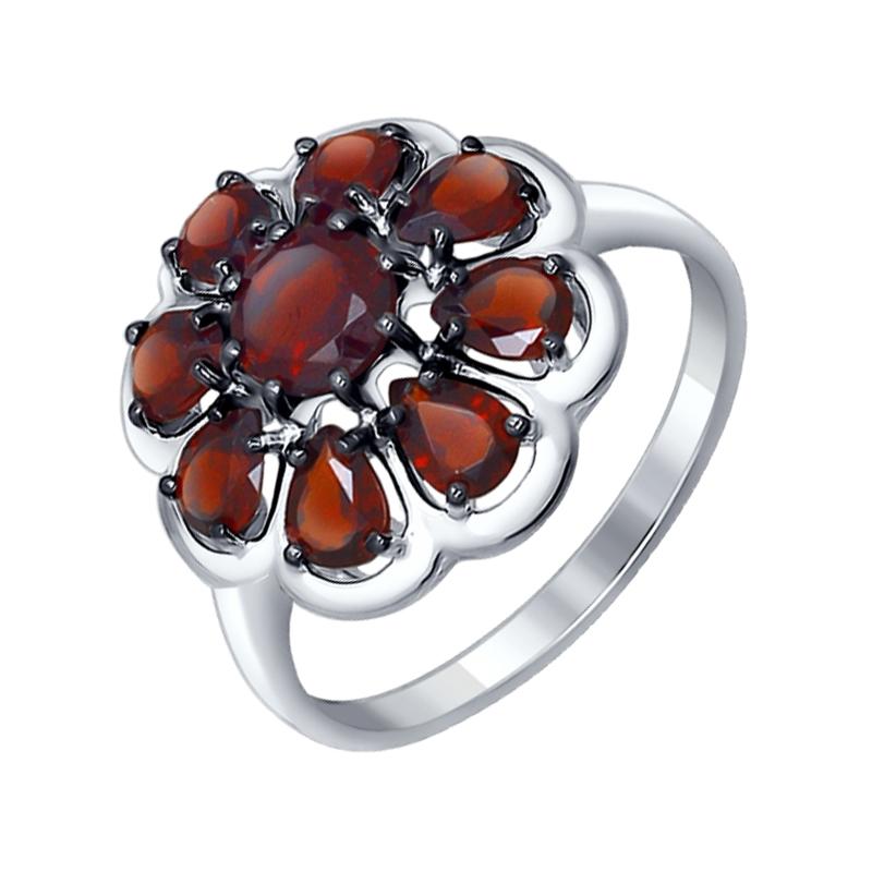 Серебряное кольцо с гранатами ДИ92011253