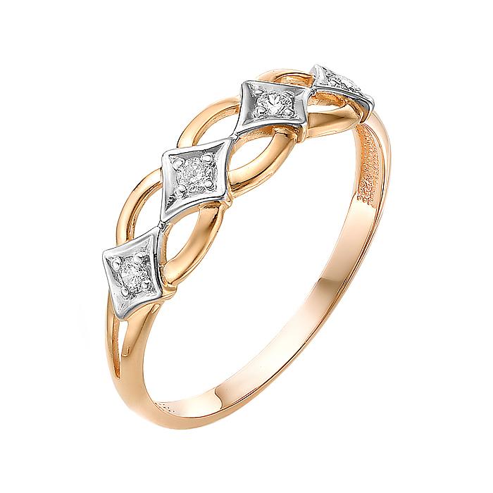 Золотое кольцо с фианитами ЮИК132-3054