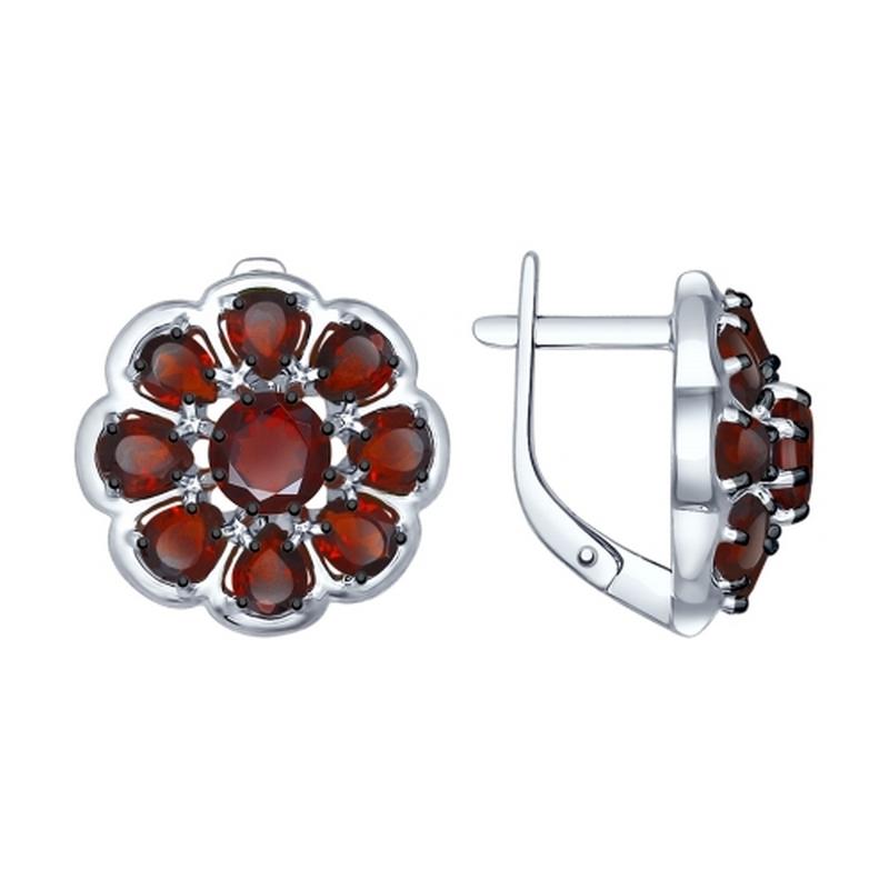 Серебряные серьги с гранатами ДИ92021397