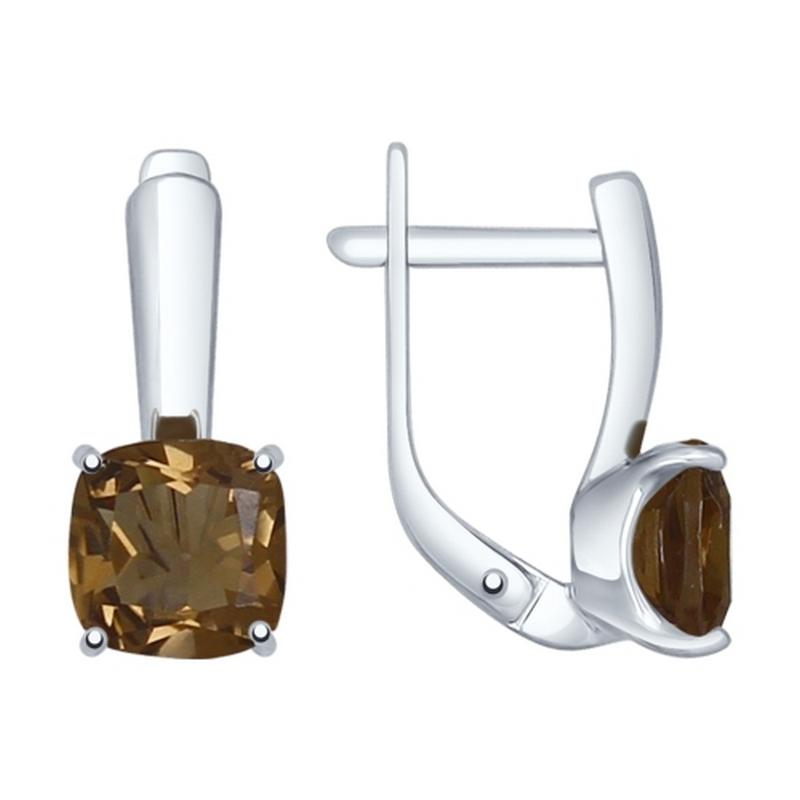 Серебряные серьги с раухтопазами ДИ92021400