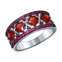 Серебряное кольцо с гранатами и фианитами ДИ92011124