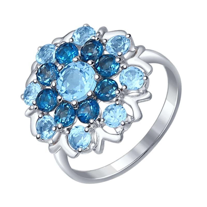 Серебряное кольцо с топазами ДИ92011221