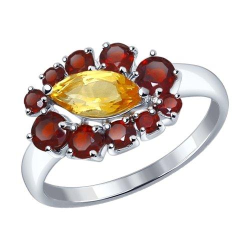 Серебряное кольцо с цитринами и гранатами ДИ92011223