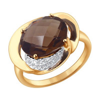 Золотое кольцо с раухтопазами и фианитами ДИ714251