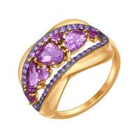Золотое кольцо с аметистами и фианитами ДИ714570