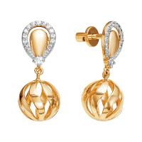 Золотые серьги гвоздики с фианитами ЮИС132-4145
