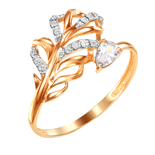Золотое кольцо с фианитами ЮИК132-4773