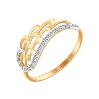 Золотое кольцо с фианитами ДИ017281
