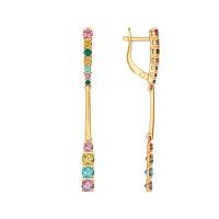 Золотые серьги подвесные с фианитами ДИ027103