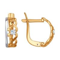 Золотые серьги с фианитами ДИ027250 женские