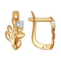 Золотые серьги с фианитами ДИ027255 женские