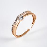 Золотое кольцо с фианитами и сваровски ЮПК1327636