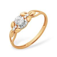 Золотое кольцо с фианитами ЮПК1327686