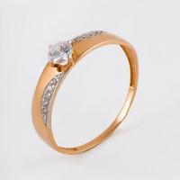 Золотое кольцо с Swarovski и фианитами ЮПК1327869