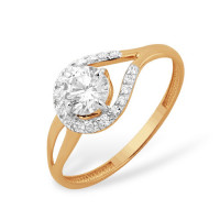 Золотое кольцо с фианитами и сваровски ЮПК1327870