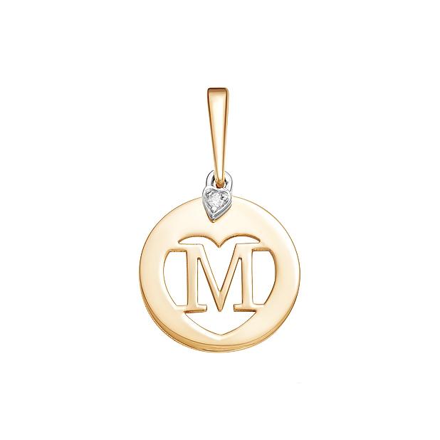 Золотая подвеска Буква М с фианитами ЮИП132-4334