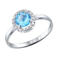 Серебряное кольцо с топазами и фианитами ДИ92011016