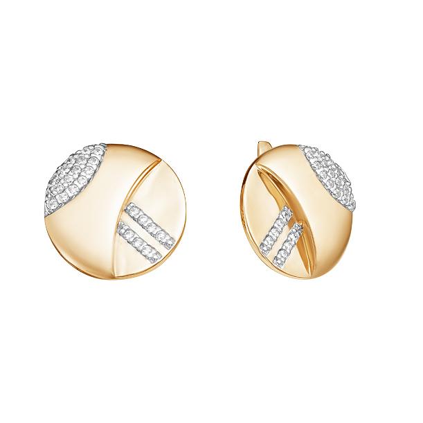 Золотые серьги с фианитами ЮИС132-4294
