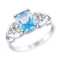 Серебряное кольцо с топазами и фианитами ДИ92011503