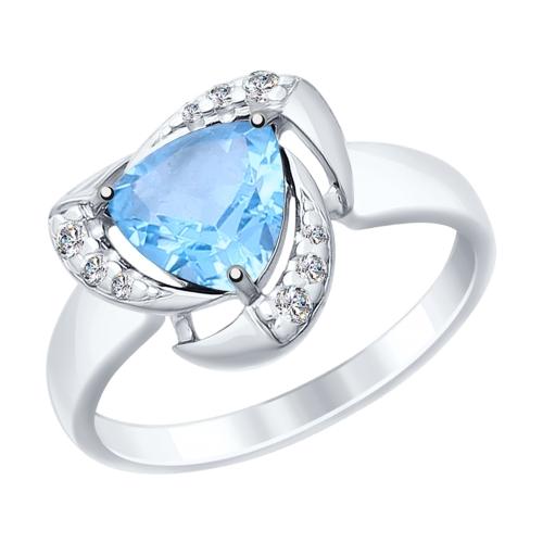 Серебряное кольцо с топазами и фианитами ДИ92011474