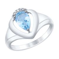 Серебряное кольцо с топазами и фианитами ДИ92011469