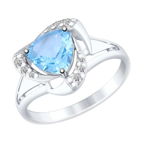 Серебряное кольцо с топазами и фианитами ДИ92011490