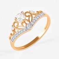 Золотое кольцо с фианитами ЮПК1328902