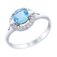 Серебряное кольцо с топазами и фианитами ДИ92011458