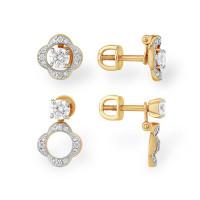 Золотые серьги гвоздики с Swarovski и фианитами ЮПС1328879