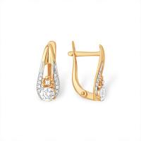 Золотые серьги с Swarovski и фианитами ЮПС1329176 женские