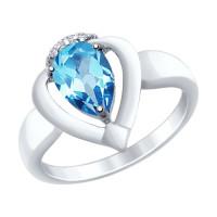 Серебряное кольцо с топазами и фианитами ДИ92011465
