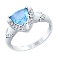 Серебряное кольцо с топазами и фианитами ДИ92011454