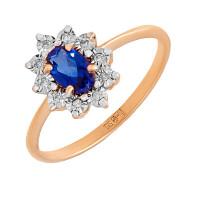 Золотое кольцо с сапфирами гт и бриллиантами СБК26-193466сп