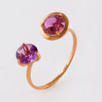 Золотое кольцо с ситалом и аметистами НЮ102000191582сирдам