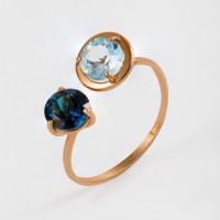 Золотое кольцо с ситалом и топазом