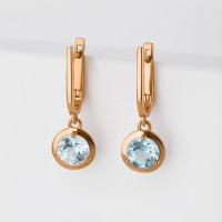 Золотые серьги подвесные с топазами НЮ102000291582тг
