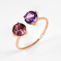 Золотое кольцо с аметистом и ситалом НЮ102000191583сирдам