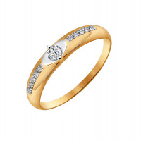 Золотое кольцо с Swarovski ДИ81010227