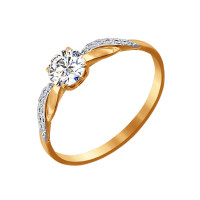 Золотое кольцо с Swarovski ДИ81010201