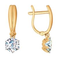 Золотые серьги подвесные с Swarovski ДИ81020233