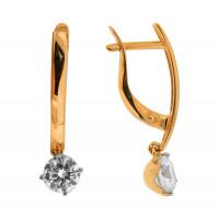 Золотые серьги подвесные с фианитами ДИ027002
